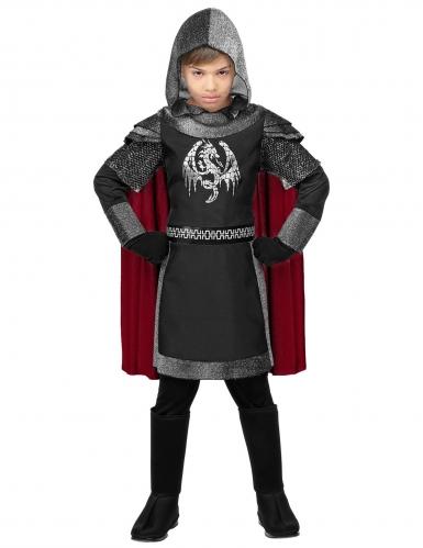 Drachenritter-Kostüm für Kinder Karneval grau-schwarz-rot