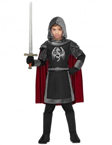 Drachenritter-Kostüm für Kinder Karneval grau-schwarz-rot-1