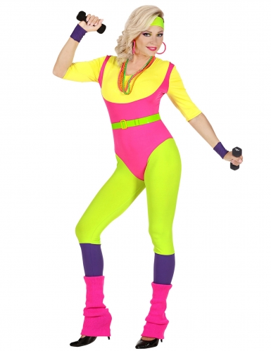 80er Jahre Aerobic-Damenkostüm Sportler-Kostüm für Karneval bunt-1