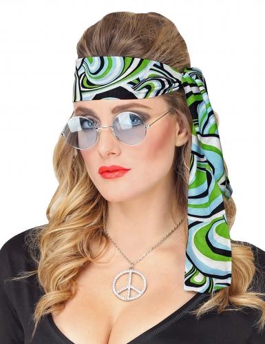 70er-Jahre-Haarband für Damen Disco-Kopfschmuck blau-grün-schwarz