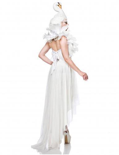 Mystisches Schwanen-Kostüm für Damen Fasching weiss-1