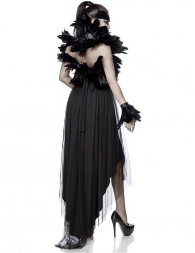 Düstere Krähe-Damenkostüm Deluxe mit Federn schwarz-1
