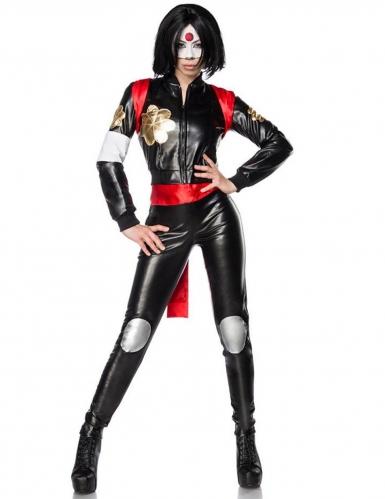 Samurai-Damenkostüm Deluxe Ninja-Kriegerin schwarz-rot