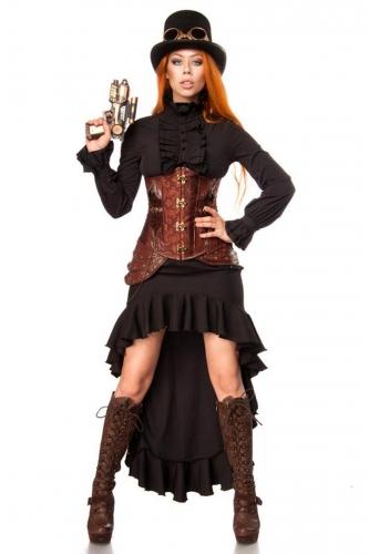 Kunstvolles Steampunk-Damenkostüm Cosplay schwarz-braun