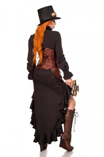 Kunstvolles Steampunk-Damenkostüm Cosplay schwarz-braun-1