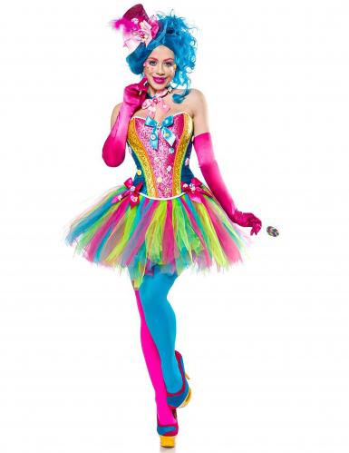 Candy Clown-Kostüm für Damen Bonbons bunt