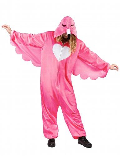 Flippiges Flamingo-Damenkostüm pink-weiss-1