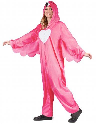 Flippiges Flamingo-Damenkostüm pink-weiss-2