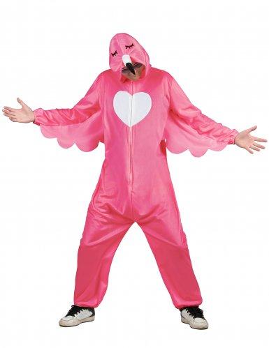 Flippiges Flamingo-Herrenkostüm pink-weiß