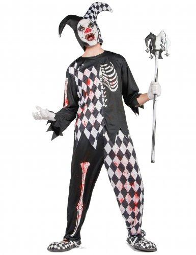 Horror Harlekin Halloween Kostüm für Herren schwarz-weiss-rot-1