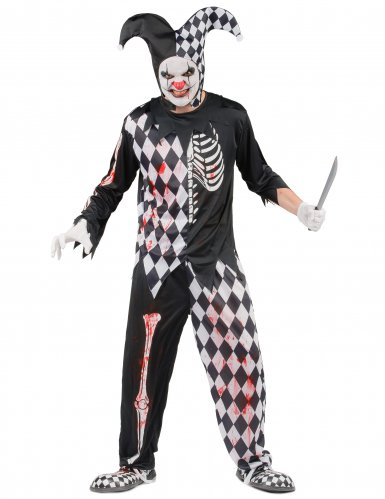 Horror Harlekin Halloween Kostüm für Herren schwarz-weiss-rot-2