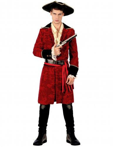 Stilvolles Piraten-Herrenkostüm Kapitän für Karneval rot