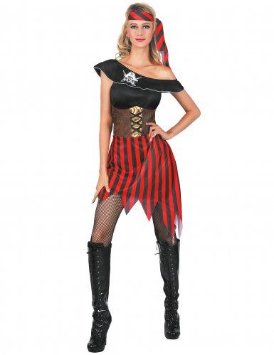 Sexy Piraten-Damenkostüm Freibeuterin schwarz-rot
