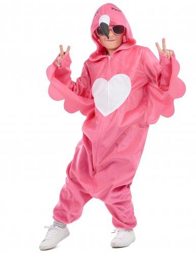 Flippiges Flamingo-Kinderkostüm pink-weiss