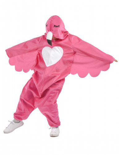 Flippiges Flamingo-Kinderkostüm pink-weiss-1