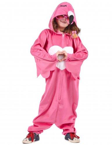 Flippiges Flamingo-Kinderkostüm pink-weiss-2