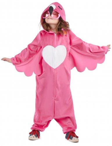 Flippiges Flamingo-Kinderkostüm pink-weiss-3