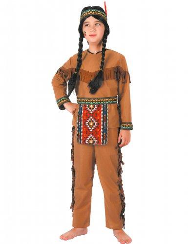Indianer-Jungenkostüm mit Fransen braun
