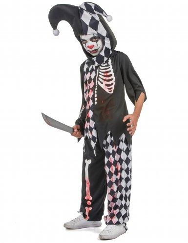 Horror-Clown Kostüm für Kinder Halloween-Verkleidung schwarz-weiss-rot-1