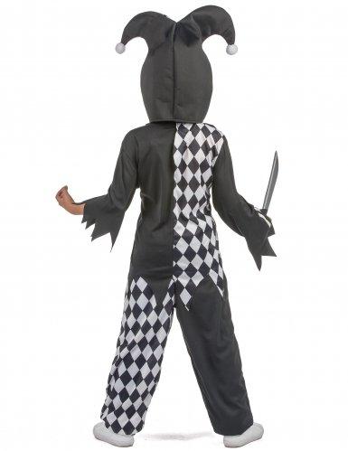 Horror-Clown Kostüm für Kinder Halloween-Verkleidung schwarz-weiss-rot-2