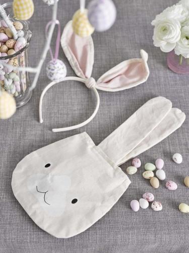 Kaninchen Tasche Geschenk-Artikel beige-weiss 34cm-2