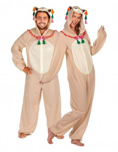 Süßes Lama-Paarkostüm Trend-Verkleidung für Fasching beige-bunt