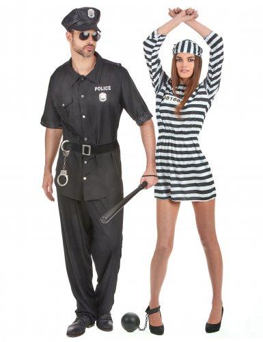 Die Gefangene und der Polizist-Paarkostüm Erwachsene schwarz-weiss