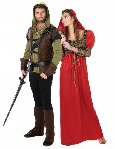 Prinzessin und Bogenschütze Partnerkostüm für Fasching bunt
