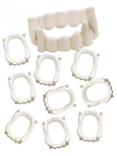 Vampirzähne-Set Kunstgebiss 10 Stück weiss