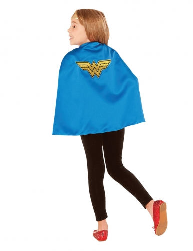 Wonder Woman™-Umhang Superhelden-Zubehör für Kinder blau-gelb