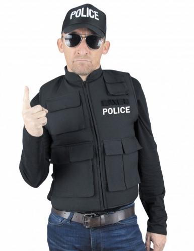 Polizei Weste Kostümzubehör für Erwachsene schwarz-weiss
