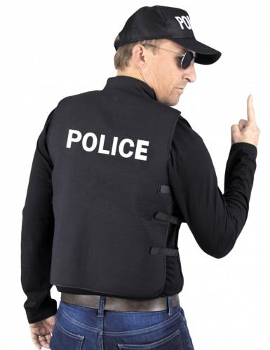 Polizei Weste Kostümzubehör für Erwachsene schwarz-weiss-1