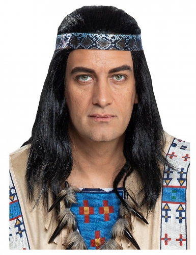 Winnetou™-Perücke für Erwachsene Kostümzubehör schwarz-blau