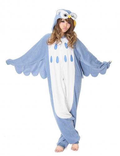 Kigurumi™-Eulen-Kostüm für Erwachsene blau-weiss