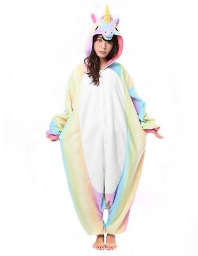 Farbenfrohes Einhorn Kigurumi™-Kostüm für Erwachsene bunt