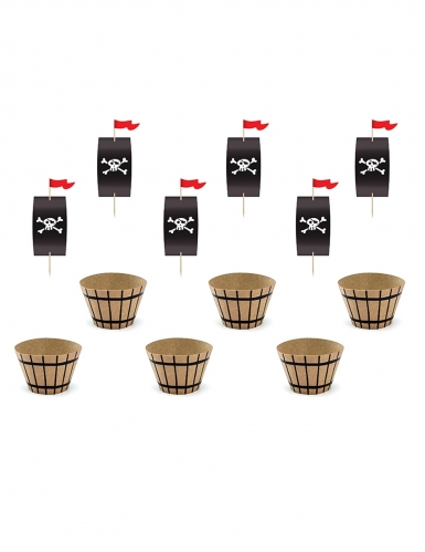 Cupcake-Förmchen Piraten-Backzubehör 12-teilig braun-schwarz-rot 4,8 x 7,6 x 4,6 cm -20 cm