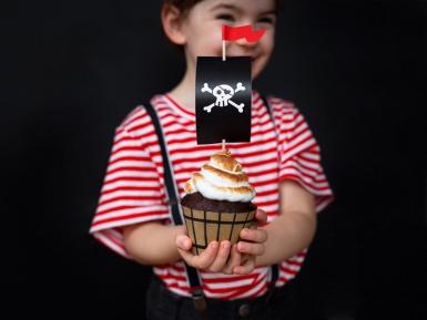 Cupcake-Förmchen Piraten-Backzubehör 12-teilig braun-schwarz-rot 4,8 x 7,6 x 4,6 cm -20 cm-1