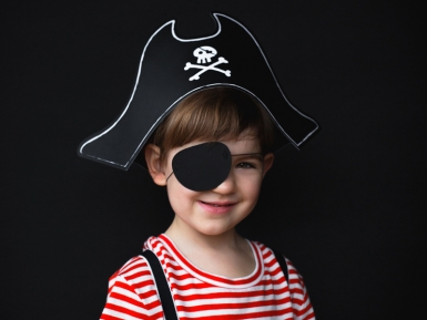 Kinder-Piratenhut mit Augenklappe Faschings-Zubehör schwarz-1