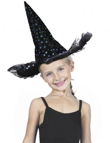 Hochwertiger Hexenhut für Kinder mit Sternen-Motiv Blau-Schwarz