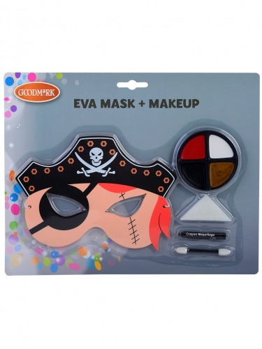 Piraten-Schminkset mit Maske für Kinder 5-teilig bunt