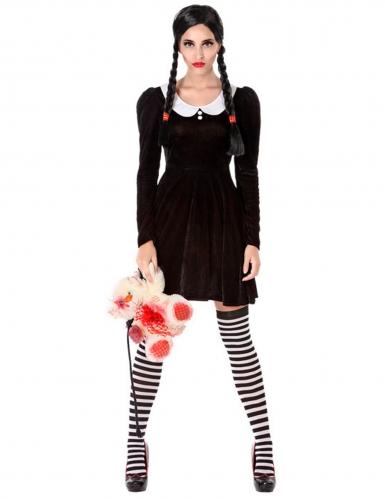 Gruseliges Schulmädchen-Kostüm für Damen schwarz