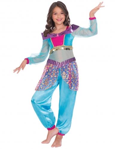 Orientalischer Flaschengeist Kostüm für Mädchen Bauchtänzerin blau