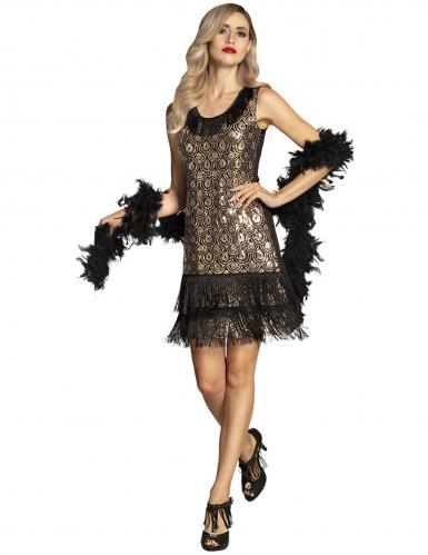 Sexy Charleston-Kleid mit Pfauen-Motiv 20er-Jahre schwarz-gold