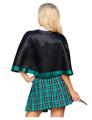 Sexy Hexen-Damenkostüm Uniform mit Umhang grün-grau-schwarz-1
