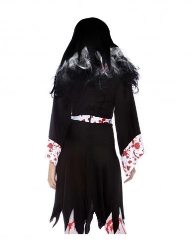 Horror-Nonne Halloween-Damenkostüm schwarz-weiss-1
