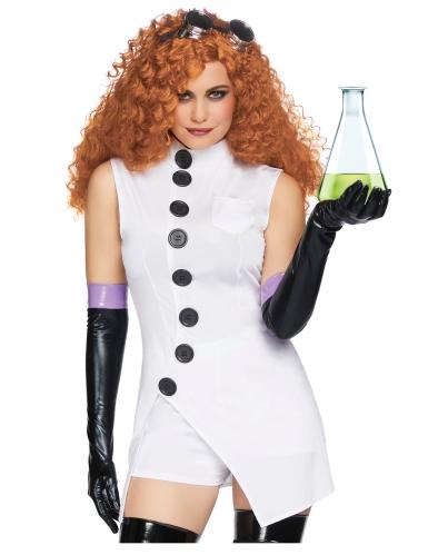 Psychopatisches Wissenschaftlerin-Kostüm für Damen Halloween weiss-schwarz