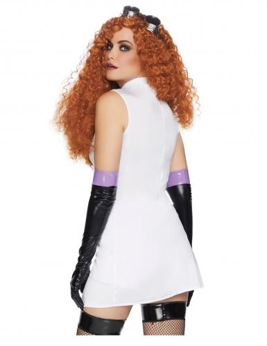 Psychopatisches Wissenschaftlerin-Kostüm für Damen Halloween weiss-schwarz-1