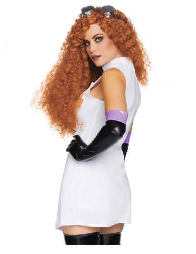 Psychopatisches Wissenschaftlerin-Kostüm für Damen Halloween weiss-schwarz-2