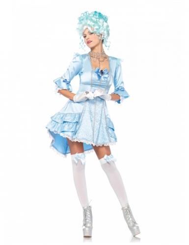 Renaissance-Damenkostüm Barock für Karneval blau-weiss