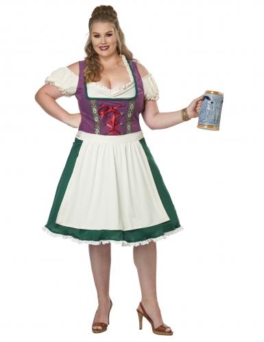 Dirndl-Kostüm für Damen in Übergröße Karnevals-Verkleidung grün-weiss